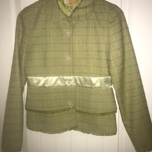 New TULLE Green Dress Button Jacket Women Size M